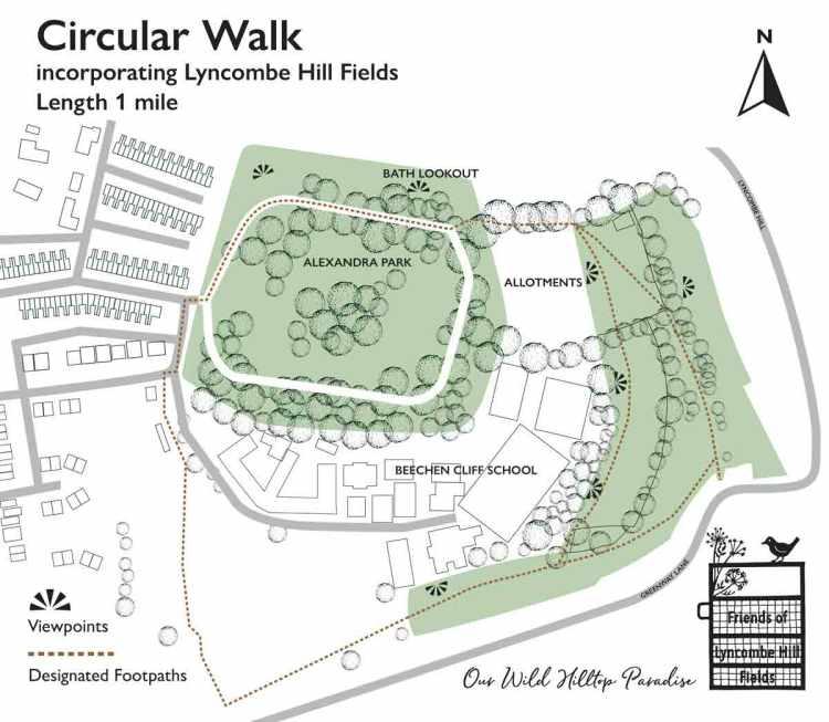 Circular Walk around Lyncombe Hill Fields