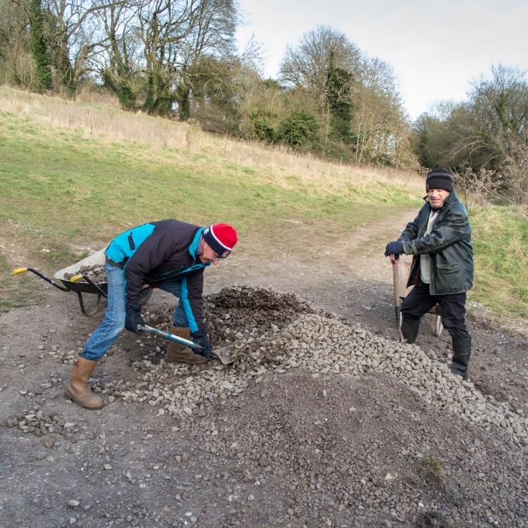 Shovelling gravel